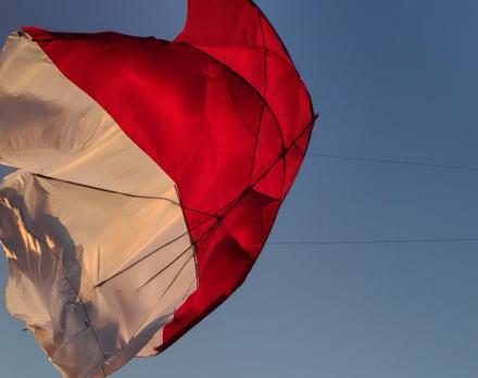 Peringati HUT RI Ke-75, Pemuda Desa Giri Emas Menerbangkan Layangan Celepuk Bernuansa Merah Putih